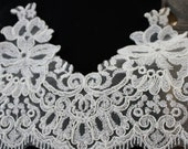BRIDAL LACE TRIM, 5 inch Scalloped Lace trim, Ivory Fabric lace trim, Bridal Accents by Vegas Veils. Ships Today!