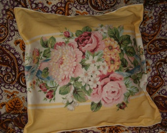 "Handmade Pillows, Set of 3, Cottage Chic Pretty Yellow & White w Pastel Flowers, Cotton, two 19"" x 13 and one 15""sq"