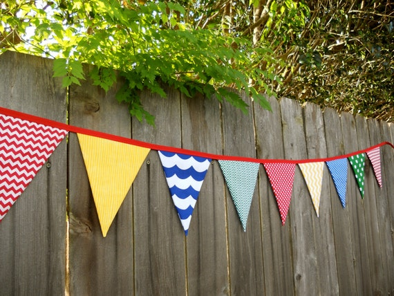 Classroom Decor Primary Colors ~ Chevron classroom primary color fabric banner or garland