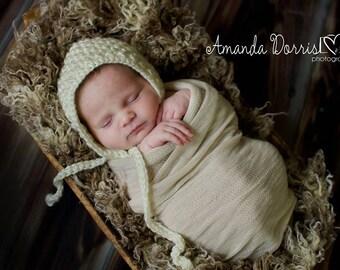 Crochet Newborn Basket Weave Bonnet - photography prop - bonnet, basket weave