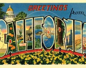 Greetings from California - 10x16 Giclée Canvas Print of Vintage Postcard