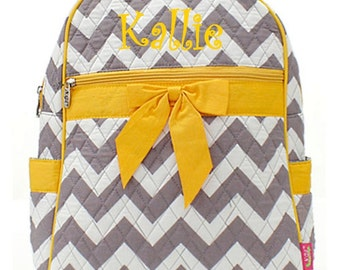 Personalized Girls Chevron Print Quilted Backpack - Gray & Yellow Booksack Monogrammed FREE