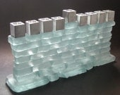 Menorah wall chanukah frosted candle holder from recycled glass and aluminium