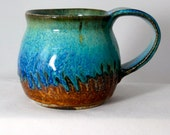 Coffee mug, ceramic cup, stoneware mug, tea cup, turquoise