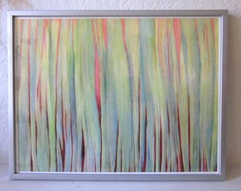 Emergence.  Botanical print, Giclée art print, vibrant green, red, orange, blue, plant drawing