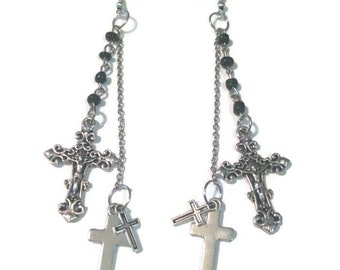 Gothic Cross Earrings (silver cross earrings)