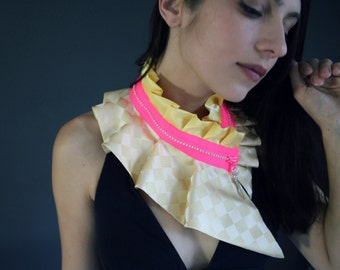 Vanilla and neon zipper collar necklace with spike, light vanilla yellow shades (#100)