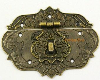 2Pcs Antique Brass Jewelry Box Hasp Latch Lock 86*65mm with Screws (HASP013)