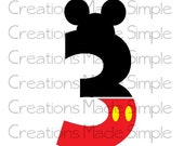 Mickey Mouse Inspired 3rd Birthday Transfer
