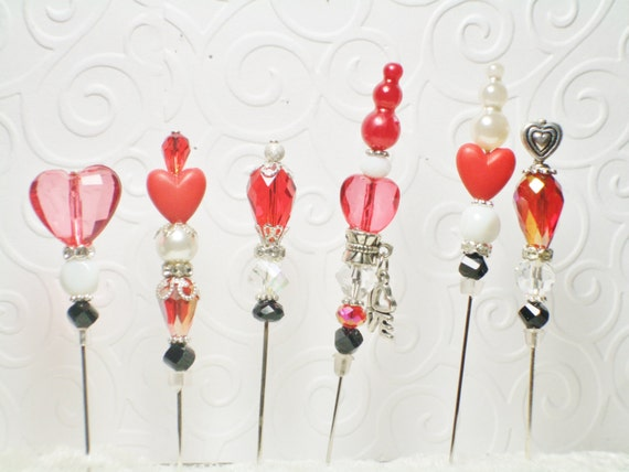 Reserved for  Its A Girl Thing Shoppe  nekoda  Stick Pins  w/hearts