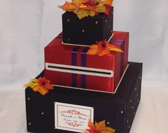 Elegant Custom Made Wedding Card Box-FALL theme-any colors