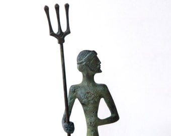 Olympian God Poseidon Statue, Bronze Sculpture, Metal Art Sculpture, Museum Quality Art, Greek Mythology, Neptune with Trident