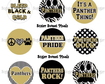 INSTANT DOWNLOAD Panthers Vegas GOld & Black School Mascot 1 inch circle Bottlecap Images