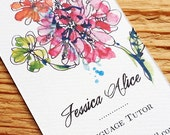 Business Card with Modern Flowers, Peony, Dahlia Set of 50