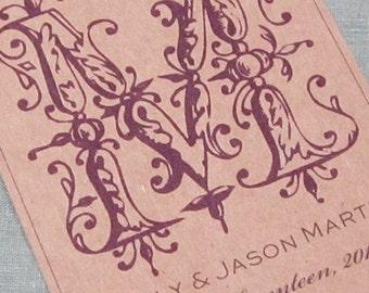 Wedding Wine label or Favor sticker with Fancy Monogram Set of 18
