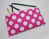 Pink and White Polka Dot print Pencil Case/ Crayon Case/Makeup Bag/ Cosmetic Case/ Ready to Ship