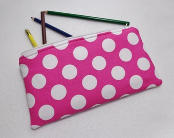 Pink and White Polka Dot print Pencil Case/ Crayon Case/Makeup Bag/ Cosmetic Case/ Ready to Ship