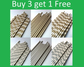 PAPER STRAW, 25 Your Choice of Color Paper Straws - Metallic Color with free printable DIY Toppers
