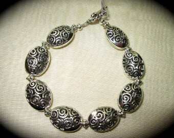 "Silver  filigree bracelet with toggle clasp 8"" large size bracelet Oval filigree charm bracelet"