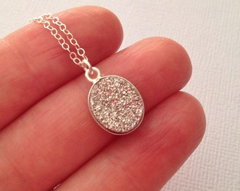 Small Oval Druzy Necklace in Sterling Silver -Silver Druzy Necklace