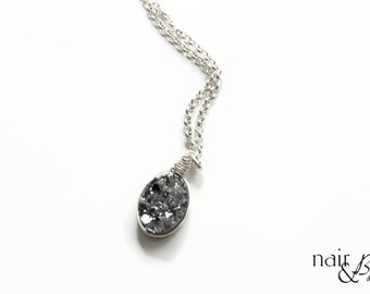 Oval Silver Druzy Necklace - Wire wrapped, pendant, silver filled rolo chain