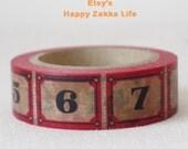 Japanese Washi Masking Tape - Numberswith Scarlet - 1-22 - 11 yards