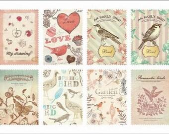 Retro Stamp Sticker Set - ver. 1- 08 Natural - 2 Sheets - 16 Pcs