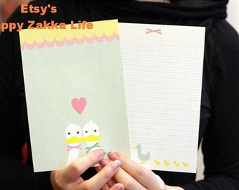 Envelope and Letter Paper Set - Cartoon Animal Series - Lovely Duck - 4 letter papers, 2 envelopes and 2 seal stickers