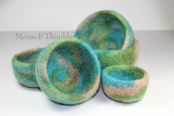 Five Felted Wool Nesting Bowls Crochet & Felting PATTERN - PDF 2545