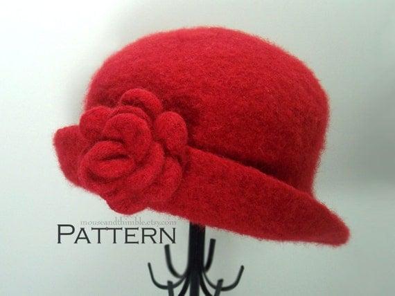 ... Felted Cloche Hat & Flower Brooch -- PDF 2123 Printable Download