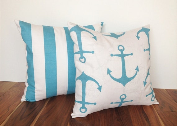 Coastal Decorative Pillow Covers : Items similar to Coastal Blue Pillow Covers. 18 X 18 Inches. Anchors and Stripes. Beach Decor ...