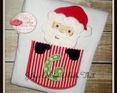 Santa Pocket Alphabet Custom Shirt or Bodysuit with fully functional pocket
