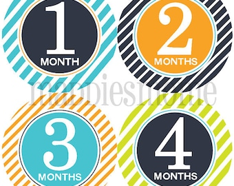 Monthly Baby Boy Stickers Baby Month Stickers, Monthly Bodysuit Sticker, Monthly Stickers (Kaleb)