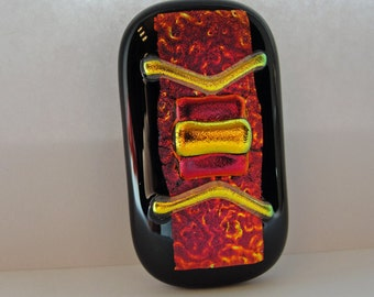 Large Dichroic Fused Glass Money Clip Red Gold Black Men's Gifts Accessories Jewelry Gifts Under 50 Dollars for Him Gifts for Dad or Grandpa