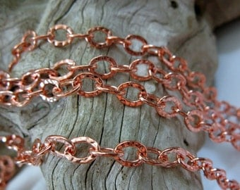 COPPER Chain,  6mm Hammered OVAL CABLE, Bulk Chain, 6 Ft to 10 Ft