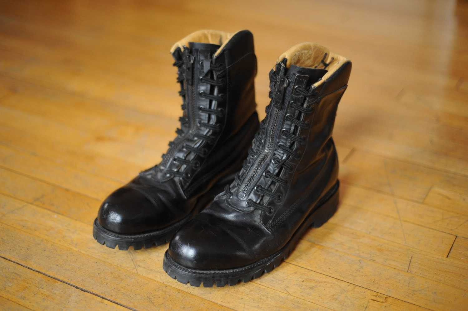 Vintage Chippewa Black Leather Steel Toe Combat Boots mens 10