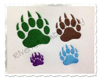 Small Bear Paw Print Machine Embroidery Design - 4 Sizes