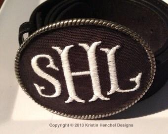 Kristin Henchel custom monogram belt buckle - black fabric with white monogram