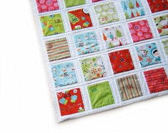 Reversible Advent Calendar - Quilted - Funky Christmas - Wallhanging