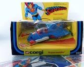 Vintage 1979 Special Corgi Toys Superman Supermobile Diecast Car Plane No. 265 w Missiles In Original Box.  Appx 1/43rd Scale.