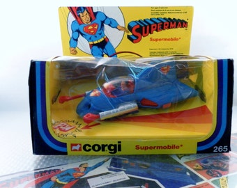 Vintage 1979 Special Corgi Toys Superman Supermobile Diecast Car Plane No. 265 w Missiles In Original Box.  Appx 1/43rd Scale.