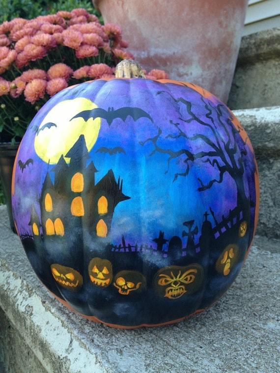 Items Similar To Painted Plastic Pumpkin With Haunted