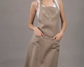 Pure Linen Organic Apron with Wonderfull Handembroidery
