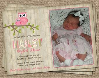 Owl Wood Baby girl photo birth announcement, digital file