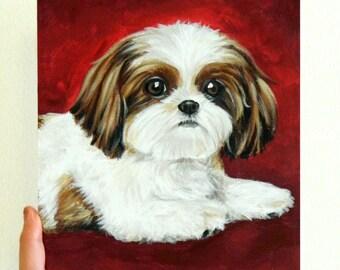 "8x10"" (canvas board) Custom Dog Portrait / Custom Pet Portrait - 1 Pet - Gradient Background Original Painting Shih Tzu Acrylic Art"