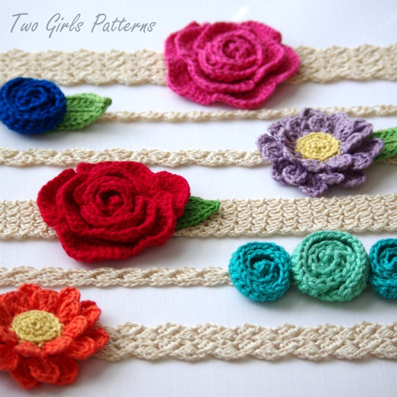 CROCHET PATTERN #216 - Six Headband patterns - 6 headbands and 3 flowers included - Ultimate flower and lace headband pack- Instant Download