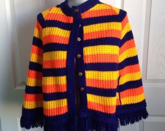 Vintage cape shawl blue orange yellow small