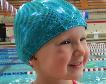 Lycra SWiM CaP - TEAL SPARKLE - Sizes - Baby , Child , Adult , XL - Made from Spandex / Swimsuit Swimming Fabric -by Froggie's Swim Caps