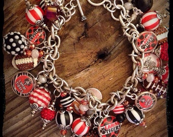 Football Mom Charm Bracelet, Football Jewelry, Football Bracelet, Football, Football Mom
