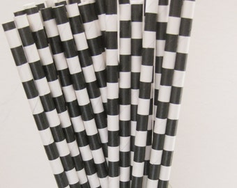 25 Paper Black & White Ringed Straws - Free Printable Straw Flags